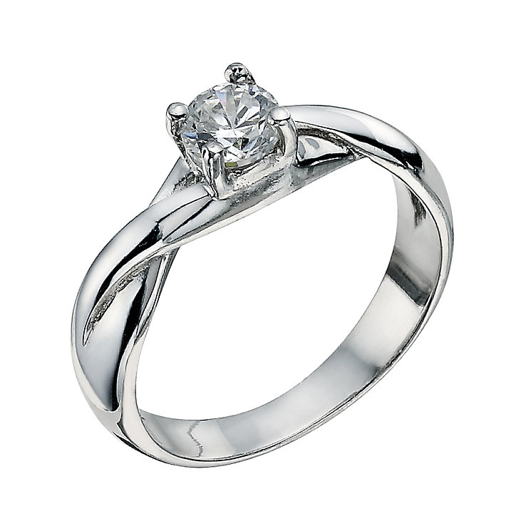 Sterling Silver 4 Claw Cubic Zirconia Ring Size L - Product number 9598677