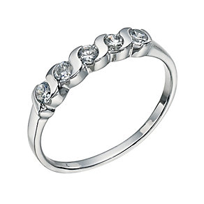 Sterling Silver 5 Cubic Zirconia Ring Size L - Product number 9598707