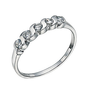 Sterling Silver 5 Cubic Zirconia Ring Size N - Product number 9598715