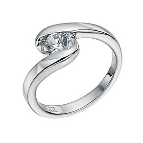 Silver Swirl Cubic Zirconia Ring Size L - Product number 9598804