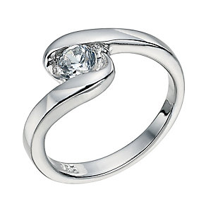 Silver Swirl Cubic Zirconia Ring Size P - Product number 9598820
