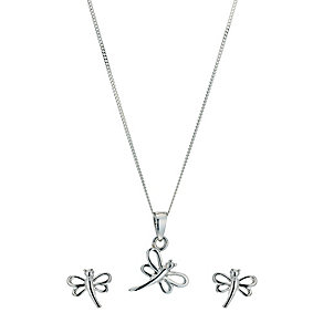 Silver Dragonfly Pendant & Earrings Set - Product number 9600191