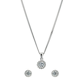 Silver & Cubic Zirconia Flower Pendant - Product number 9600213