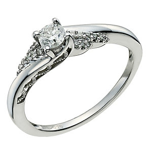 9ct White Gold 1/4 Carat Twist Diamond Ring - Product number 9600906