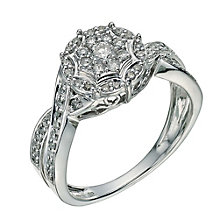 9ct White Gold 1/2 Carat Diamond Cluster Ring - Product number 9601031