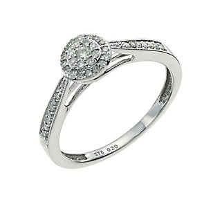 9ct White Gold 1/5 Carat Diamond Halo Cluster Ring - Product number 9601309