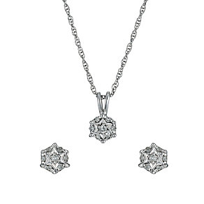 Sterling Silver Diamond Pendant & Earrings Set - Product number 9601449