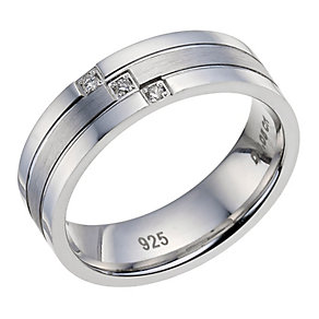 Silver Matte & Polished Diamond Set Gents Ring - Product number 9603085
