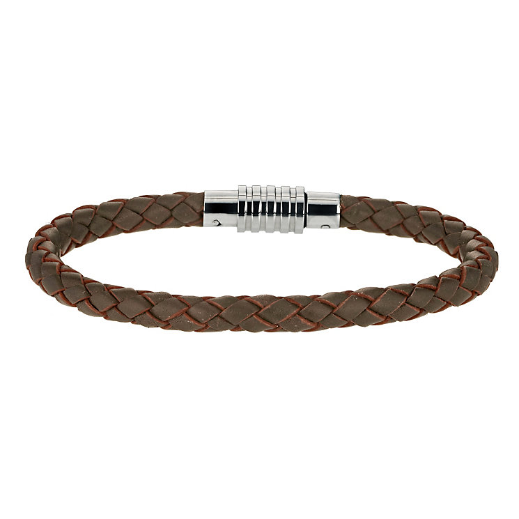 Chocolate Brown Leather & Stainless Steel Bracelet - Product number 9605428