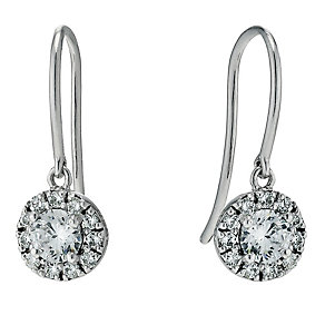 9ct white gold cubic zirconia cluster drop earrings - Product number 9606025