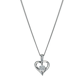 9ct white gold made with Swarovski Zirconia heart pendant - Product number 9606238