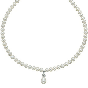 9ct white gold cultured freshwater pearl collar - Product number 9606254