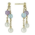 9ct yellow gold pearl & coloured stone set drop earrings - Product number 9606297