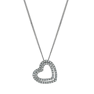 9ct white gold cubic zirconia double heart pendant - Product number 9606548