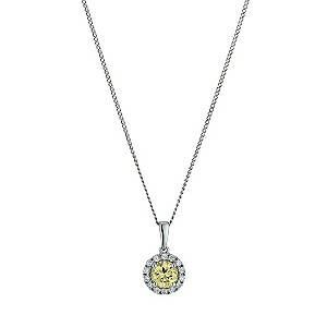 9ct white gold cubic zirconia vintage round pendant - Product number 9606556