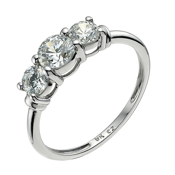 9ct white gold made with Swarovski Zirconia trilogy ring - Product number 9606866