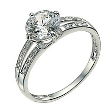 9ct white gold made with Swarovski Zirconia solitaire ring - Product number 9606998