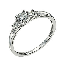 9ct white gold cubic zirconia trilogy ring - Product number 9607129