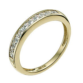 9ct yellow gold channel set cubic zirconia eternity ring - Product number 9607269