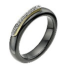Black ceramic 9ct gold & cubic zirconia ring - Product number 9607536