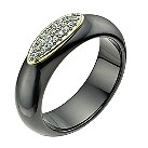 Black ceramic & 9ct yellow gold cubic zirconia ring - Product number 9607668