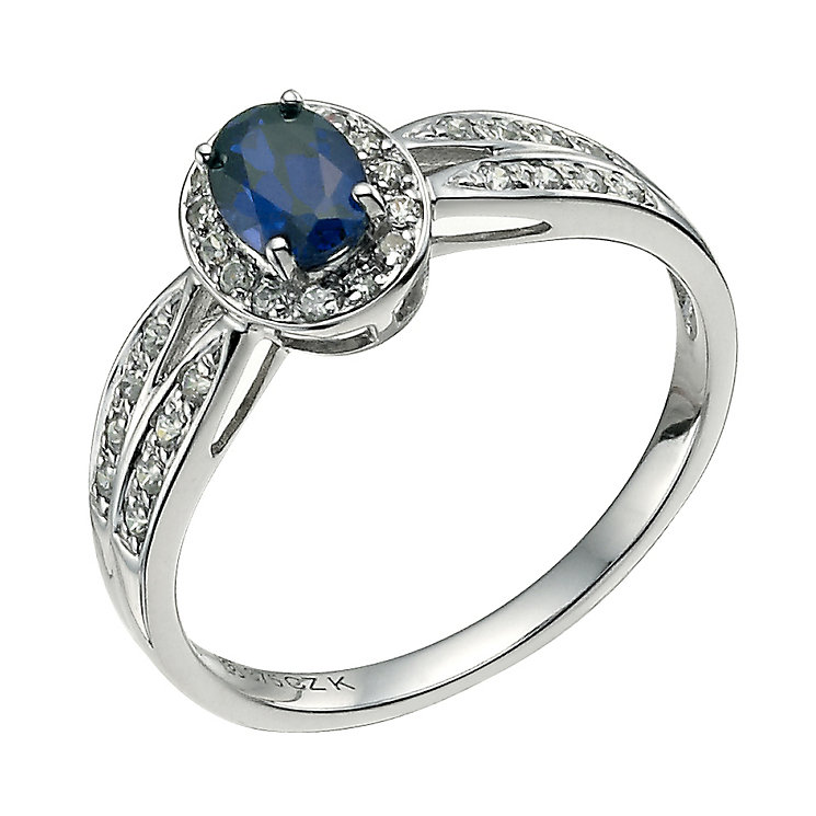 9ct white gold cubic zirconia & created sapphire ring - Product number 9608338