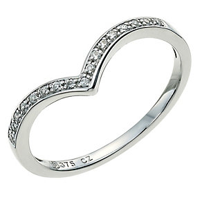 9ct white gold cubic zirconia wishbone ring - Product number 9608583
