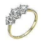 9ct yellow gold cubic zirconia trilogy ring - Product number 9608850
