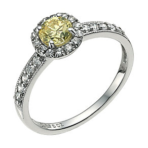 9ct white gold lemon cubic zirconia vintage style ring - Product number 9608982
