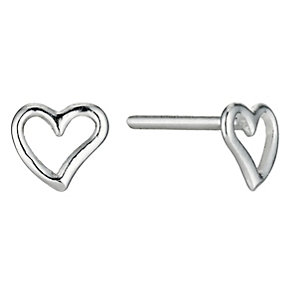 Children's Silver Cut Away Heart Stud Earrings - Product number 9609601