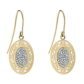 Silver & 9ct Yellow Gold Crystal Oval Drop Earrings - Product number 9609741