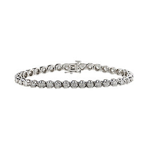 18ct white gold five carat diamond tennis bracelet - Product number 9609970