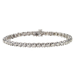 18ct white gold four carat diamond tennis bracelet - Product number 9610006