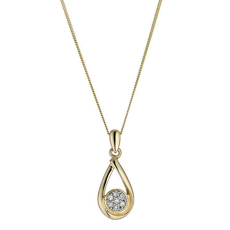 9ct yellow gold diamond set pendant - Product number 9610030