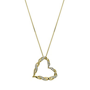 9ct yellow gold & diamond heart pendant - Product number 9610057