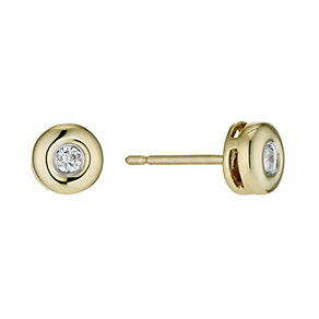 9ct gold diamond rubover stud earrings - Product number 9610138