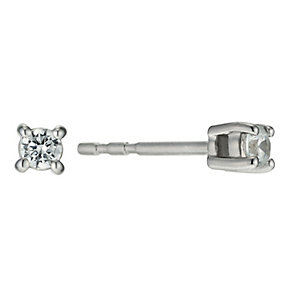 18ct white gold diamond solitaire stud earrings - Product number 9610146