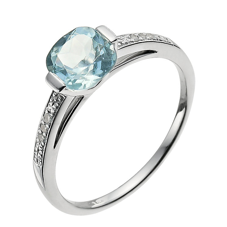 Sterling silver aquamarine & diamond ring - Product number 9610618