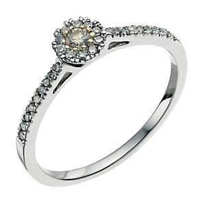 Silver 0.20ct white & cafe diamond cluster ring - Product number 9611274