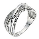 Silver diamond crossover ring - Product number 9611428