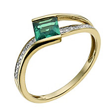 9ct yellow gold diamond & emerald ring - Product number 9611843