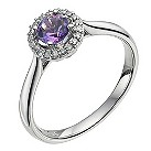 9ct white gold diamond & amethyst halo ring - Product number 9612106