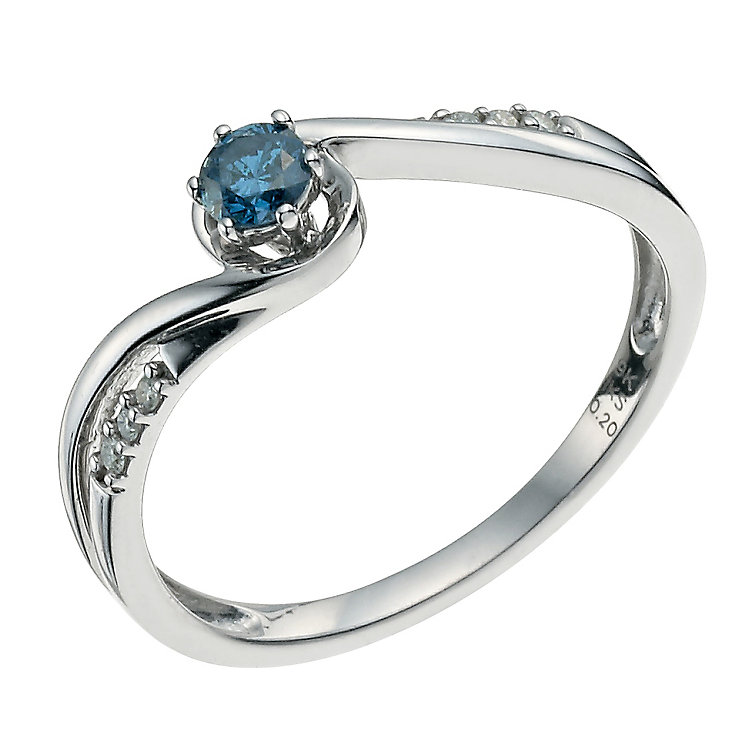 Vivid 9ct white gold 0.20 point treated blue diamond ring - Product number 9612246