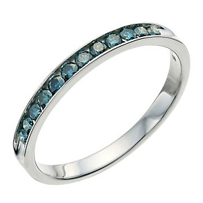 Vivid sterling silver 0.25 ct treated blue diamond ring - Product number 9612890