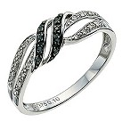 Silver Eclipse white & black treated diamond ring - Product number 9613293
