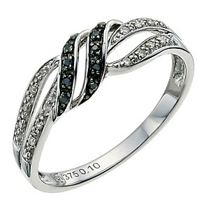 Vivid silver white & treated black diamond ring - Product number 9613293