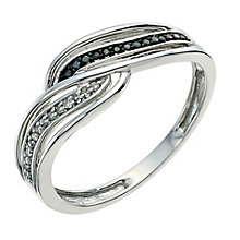 Vivid 9ct white gold treated black diamond ring - Product number 9613420