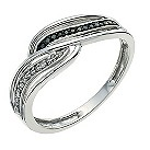 Silver Eclipse white & black treated diamond ring - Product number 9613420