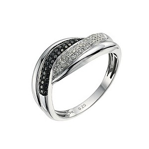 Eclipse 9ct white gold 0.25 ct treated black diamond ring - Product number 9613560
