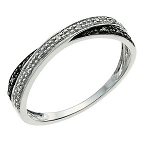 Silver Eclipse white & treated black diamond ring - Product number 9613692